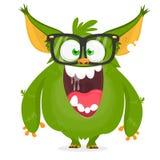 Cartoon green monster nerd wearing glasses. Vector illustration isolated. Cartoon green monster nerd wearing glasses. Vector illustration isolated stock illustration
