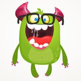 Cartoon green monster nerd wearing glasses. Vector troll or goblin oar alien illustration isolated. Vector Illustration