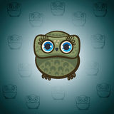 Cartoon green owl. Royalty Free Stock Photography