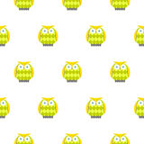 Cartoon green owls white seamless vector pattern. Green and yellow owl birds background Stock Image