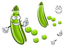 Cartoon green pea pod vegetable Royalty Free Stock Photography
