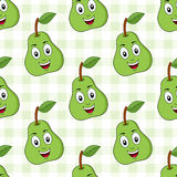 Cartoon Green Pear Seamless Pattern. A seamless pattern with a cartoon green pear character smiling, on a checkered picnic tablecloth background. Useful also as Royalty Free Stock Photo