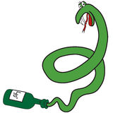 Cartoon green snake from the bottle Stock Photo