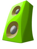 Cartoon green speaker standing with dinamics Royalty Free Stock Photo