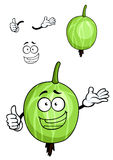 Cartoon green striped gooseberry fruit Stock Images