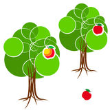 Cartoon green summer tree with a crown of circles  different diameters. Abstract trunk and roots. Red apple. Stock Photos