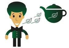 Cartoon green tea man Stock Image