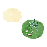 cartoon green tomato with thought bubble Stock Images