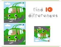 Cartoon green trolleybus. Educational game for kids: find ten di. Fferences. Vector illustration Stock Photo