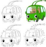 Cartoon green trolleybus. Vector illustration. Coloring and dot Royalty Free Stock Photo