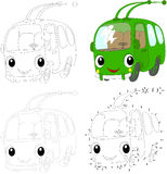 Cartoon green trolleybus. Vector illustration. Dot to dot game f Royalty Free Stock Photography