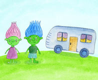 Cartoon green trolls - girl and boy, near the trailer on the meadow. Watercolor hand drawn cheldrens illustration Royalty Free Stock Photo