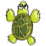 Cartoon green turtle in a childish naif doodle drawing style Royalty Free Stock Photos