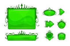 Cartoon green vector abstract game assets set Royalty Free Stock Photos