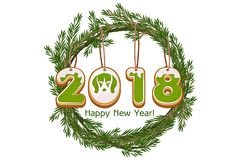 Cartoon green wreath spruce Happy New Year, cookie 2018 year dog vector Stock Images