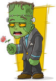Cartoon green zombie monster with flower Royalty Free Stock Images
