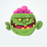 Cartoon green zombie with pink brains outside of the head. Halloween character. Vector illustration. Royalty Free Stock Image