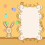 Cartoon greeting card with easter congratulation Royalty Free Stock Photos