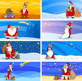 Cartoon Greeting Cards with Santa Claus Royalty Free Stock Photos