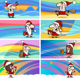Cartoon greeting cards with santa claus Royalty Free Stock Photography