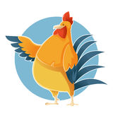 Cartoon greeting Chicken Stock Photo