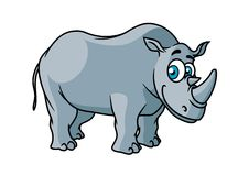 Cartoon grey rhino character Stock Images