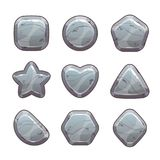 Cartoon grey stone assets. For web or game design. Rock signs set, vector icons isolated on white background Royalty Free Stock Image