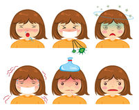 Cartoon gril sickness. Cartoon face sickness, Cold symptoms of girl Royalty Free Stock Image