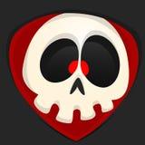 Cartoon grim reaper face avatar. Cute vector face of cartoon skull character Stock Photo