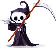 Cartoon grim reaper  pointing. Cute cartoon grim reaper with scythe  pointing. Isolated on white Royalty Free Stock Image