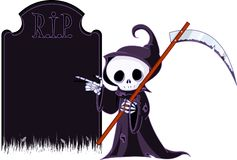 Cartoon grim reaper  pointing to tombstone. Cute cartoon grim reaper with scythe  pointing to tombstone. Isolated on white Stock Image