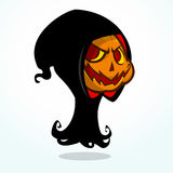 Cartoon grim reaper pumpkin isolated on white. Halloween vector illustration of pumpkin head. Stock Image
