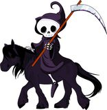 Cartoon grim reaper riding horse Stock Photography