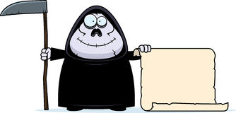 Cartoon Grim Reaper Sign. A cartoon illustration of a grim reaper with a sign Royalty Free Stock Photos