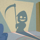 Cartoon Grim Reaper Smile Hold Scythe Shadow Stock Images