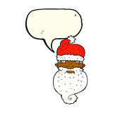 Cartoon grim santa face with speech bubble Royalty Free Stock Photos