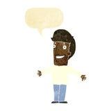 Cartoon grining man with open arms with speech bubble Stock Photos