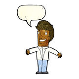 Cartoon grining man with open arms with speech bubble Royalty Free Stock Photography