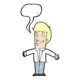 Cartoon grining man with open arms with speech bubble Royalty Free Stock Photo