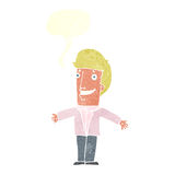 Cartoon grining man with open arms with speech bubble Stock Photography