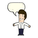 Cartoon grining man with open arms with speech bubble Stock Image