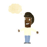 Cartoon grining man with open arms with thought bubble Royalty Free Stock Photos