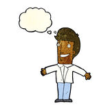 Cartoon grining man with open arms with thought bubble Royalty Free Stock Photo