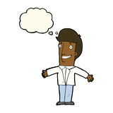 Cartoon grining man with open arms with thought bubble Stock Photo