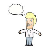 Cartoon grining man with open arms with thought bubble Royalty Free Stock Images