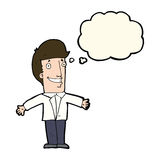 Cartoon grining man with open arms with thought bubble Royalty Free Stock Photography