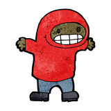 Cartoon grinning boy in hooded sweatshirt Stock Images