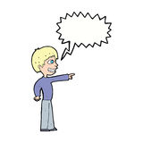 Cartoon grinning boy pointing with speech bubble Royalty Free Stock Photos