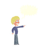 Cartoon grinning boy pointing with speech bubble Stock Photos