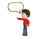 Cartoon grinning boy pointing with speech bubble Royalty Free Stock Photo